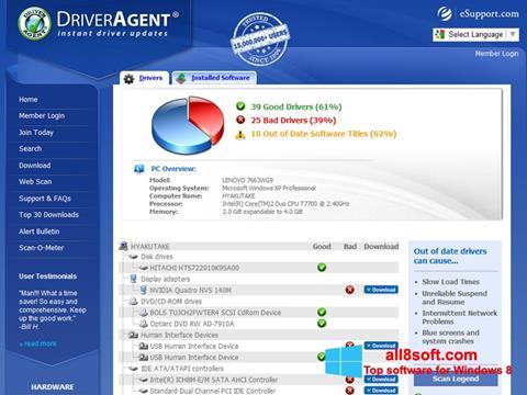 Ảnh chụp màn hình DriverAgent cho Windows 8