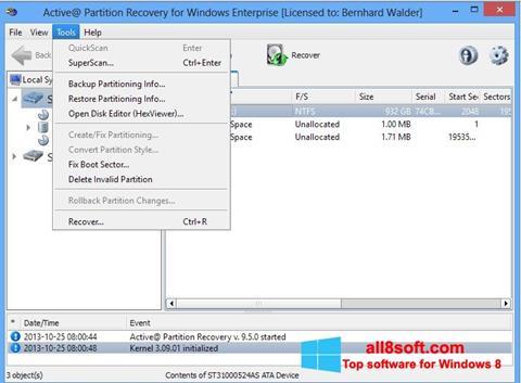 Ảnh chụp màn hình Active Partition Recovery cho Windows 8