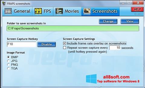 Ảnh chụp màn hình Fraps cho Windows 8