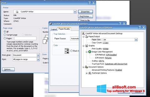 Ảnh chụp màn hình CutePDF Writer cho Windows 8