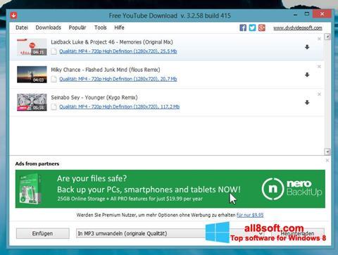 Ảnh chụp màn hình Free YouTube Download cho Windows 8