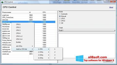 Ảnh chụp màn hình CPU-Control cho Windows 8