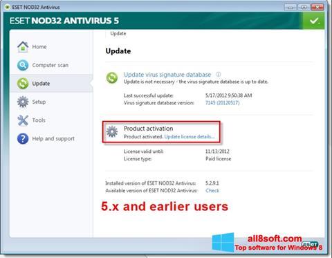 Ảnh chụp màn hình ESET NOD32 cho Windows 8