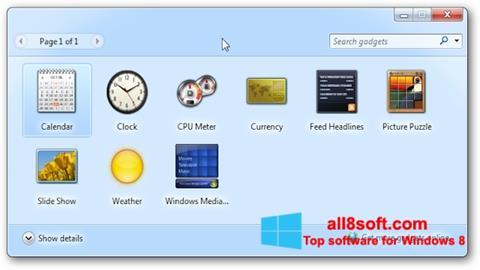 Ảnh chụp màn hình 8GadgetPack cho Windows 8