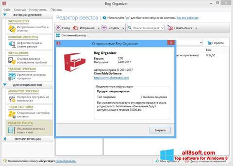 Ảnh chụp màn hình Reg Organizer cho Windows 8