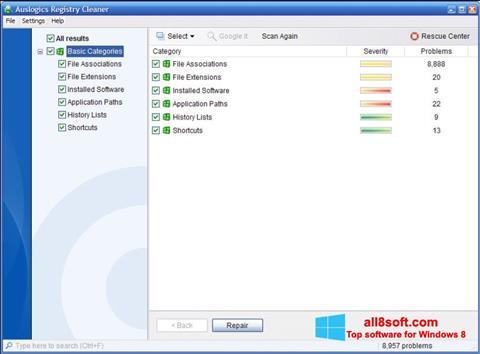 Ảnh chụp màn hình Auslogics Registry Cleaner cho Windows 8