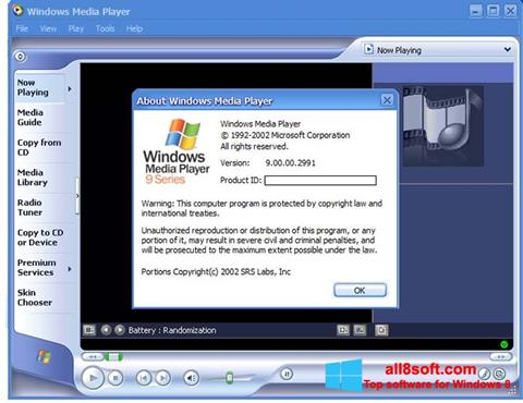 Ảnh chụp màn hình Windows Media Player cho Windows 8
